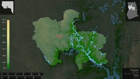 Savannah, region of Ghana. Colored shader data with lakes and rivers. Shape presented against its country area with informative overlays. 3D rendering
