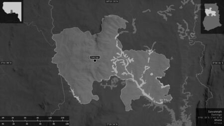 Savannah, region of Ghana. Grayscaled map with lakes and rivers. Shape presented against its country area with informative overlays. 3D rendering