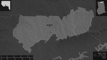 Upper East, region of Ghana. Grayscaled map with lakes and rivers. Shape presented against its country area with informative overlays. 3D rendering