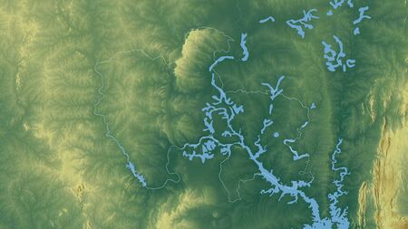 Savannah, region of Ghana. Colored relief with lakes and rivers. Shape outlined against its country area. 3D rendering Фото со стока