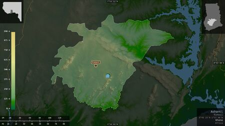 Ashanti, region of Ghana. Colored shader data with lakes and rivers. Shape presented against its country area with informative overlays. 3D rendering