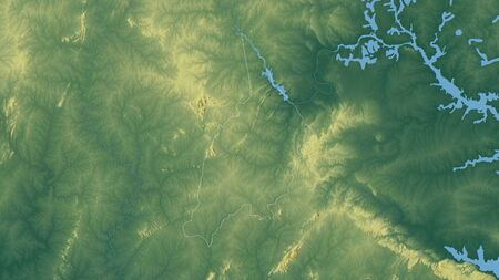 Bono, region of Ghana. Colored relief with lakes and rivers. Shape outlined against its country area. 3D rendering