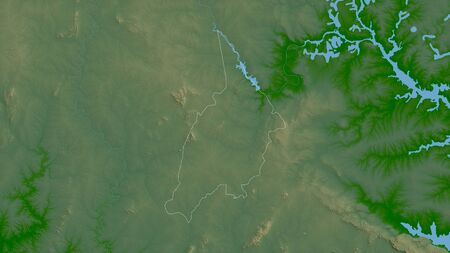 Bono, region of Ghana. Colored shader data with lakes and rivers. Shape outlined against its country area. 3D rendering