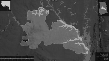 Bono East, region of Ghana. Grayscaled map with lakes and rivers. Shape presented against its country area with informative overlays. 3D rendering Фото со стока