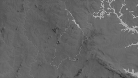 Bono, region of Ghana. Grayscaled map with lakes and rivers. Shape outlined against its country area. 3D rendering