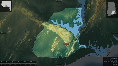 Eastern, region of Ghana. Colored relief with lakes and rivers. Shape presented against its country area with informative overlays. 3D rendering