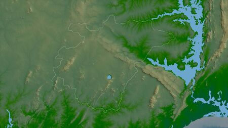 Ashanti, region of Ghana. Colored shader data with lakes and rivers. Shape outlined against its country area. 3D rendering