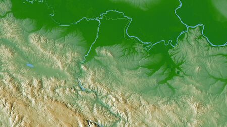 Mačvanski, district of Serbia. Colored shader data with lakes and rivers. Shape outlined against its country area. 3D rendering Imagens