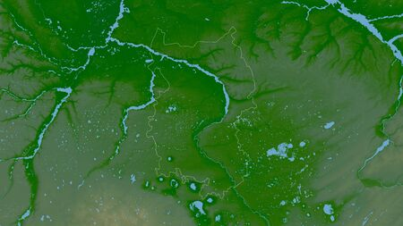 Omsk, region of Russia. Colored shader data with lakes and rivers. Shape outlined against its country area. 3D rendering Imagens