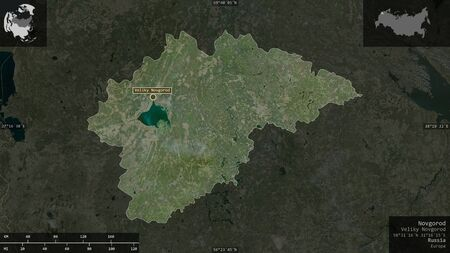 Novgorod, region of Russia. Satellite imagery. Shape presented against its country area with informative overlays. 3D rendering