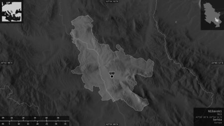 Nišavski, district of Serbia. Grayscaled map with lakes and rivers. Shape presented against its country area with informative overlays. 3D rendering