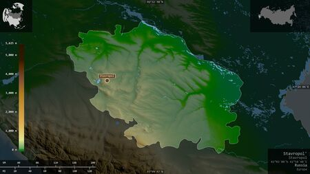 Stavropol', territory of Russia. Colored shader data with lakes and rivers. Shape presented against its country area with informative overlays. 3D rendering