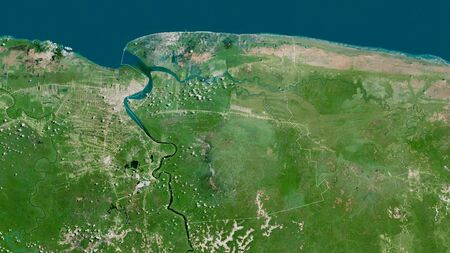 Commewijne, district of Suriname. Satellite imagery. Shape outlined against its country area. 3D rendering