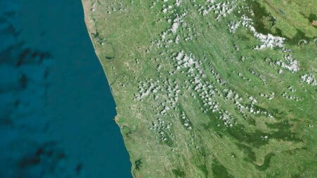 Kalutara, district of Sri Lanka. Satellite imagery. Shape outlined against its country area. 3D rendering