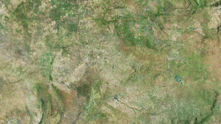 North West, province of South Africa. Satellite imagery. Shape outlined against its country area. 3D rendering