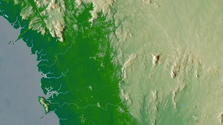 Northern, province of Sierra Leone. Colored shader data with lakes and rivers. Shape outlined against its country area. 3D rendering