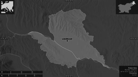 Pomurska, statistical region of Slovenia. Grayscaled map with lakes and rivers. Shape presented against its country area with informative overlays. 3D rendering