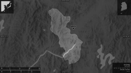 Sejong, metropolitan autonomous city of South Korea. Grayscaled map with lakes and rivers. Shape presented against its country area with informative overlays. 3D rendering
