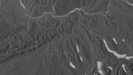 Aargau, canton of Switzerland. Grayscaled map with lakes and rivers. Shape outlined against its country area. 3D rendering