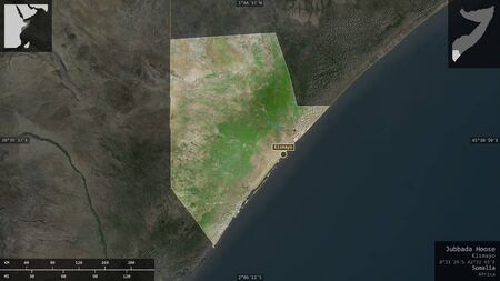 Jubbada Hoose, region of Somalia. Satellite imagery. Shape presented against its country area with informative overlays. 3D rendering Imagens