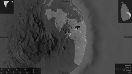 Ampara, district of Sri Lanka. Grayscaled map with lakes and rivers. Shape presented against its country area with informative overlays. 3D rendering