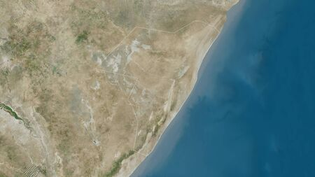 Mudug, region of Somalia. Satellite imagery. Shape outlined against its country area. 3D rendering