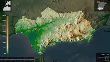 Andalucía, autonomous community of Spain. Colored shader data with lakes and rivers. Shape presented against its country area with informative overlays. 3D rendering Imagens