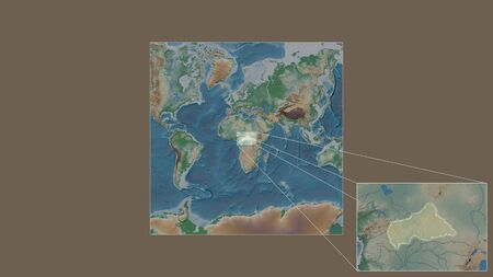 Expanded and enlarged area of Caf extracted from the large-scale map of the world with leading lines connecting the corners of the frames. Color physical map