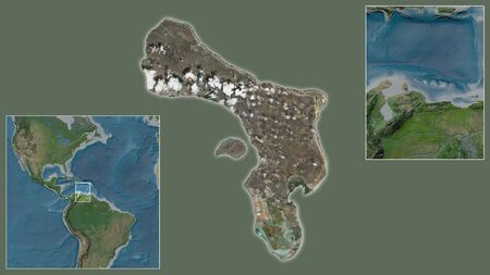Close-up of Caribbean Netherlands Bonaire and its location in the region and in the center of a large-scale world map. Satellite imagery