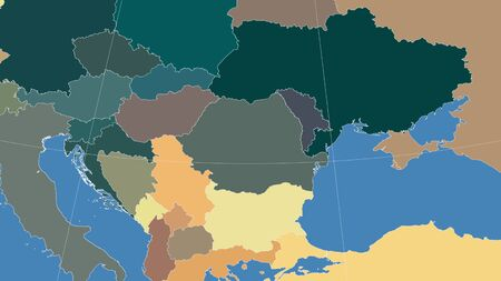 Romania and its neighborhood. Distant oblique perspective - no outline. color map of administrative divisions