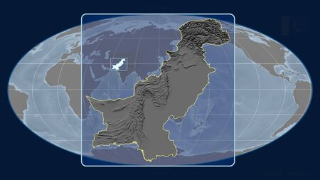 Zoomed-in view of Pakistan outline with perspective lines against a global map in the Mollweide projection. Shape centered. grayscale elevation map