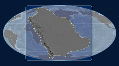Zoomed-in view of Saudi Arabia outline with perspective lines against a global map in the Mollweide projection. Shape centered. grayscale elevation map