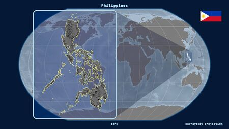 Zoomed-in view of Philippines outline with perspective lines against a global map in the Kavrayskiy projection. Shape on the left side. grayscale elevation map Фото со стока