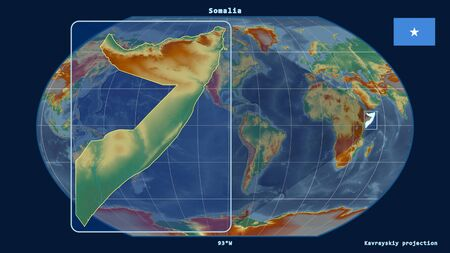 Zoomed-in view of Somalia outline with perspective lines against a global map in the Kavrayskiy projection. Shape on the left side. topographic relief map