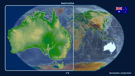 Zoomed-in view of Australia outline with perspective lines against a global map in the Kavrayskiy projection. Shape on the left side. color physical map