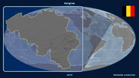 Zoomed-in view of Belgium outline with perspective lines against a global map in the Mollweide projection. Shape on the left side. grayscale elevation map