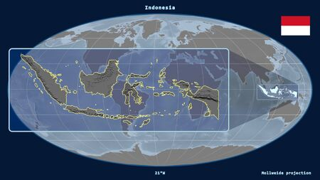 Zoomed-in view of Indonesia outline with perspective lines against a global map in the Mollweide projection. Shape on the left side. grayscale elevation map