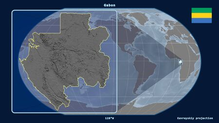 Zoomed-in view of Gabon outline with perspective lines against a global map in the Kavrayskiy projection. Shape on the left side. grayscale elevation map