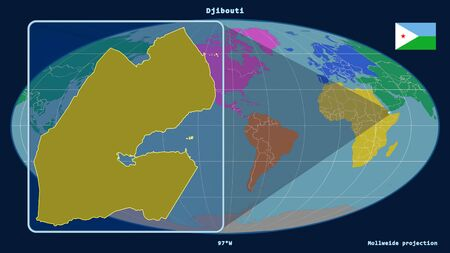 Zoomed-in view of Djibouti outline with perspective lines against a global map in the Mollweide projection. Shape on the left side. color map of continents