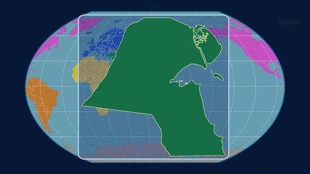 Zoomed-in view of Kuwait outline with perspective lines against a global map in the Kavrayskiy projection. Shape centered. color map of continents