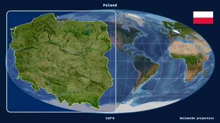 Zoomed-in view of Poland outline with perspective lines against a global map in the Mollweide projection. Shape on the left side. satellite imagery