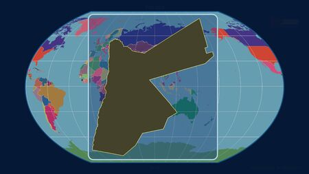 Zoomed-in view of Jordan outline with perspective lines against a global map in the Kavrayskiy projection. Shape centered. color map of administrative divisions