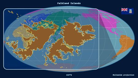 Zoomed-in view of Falkland Islands outline with perspective lines against a global map in the Mollweide projection. Shape on the left side. color map of continents