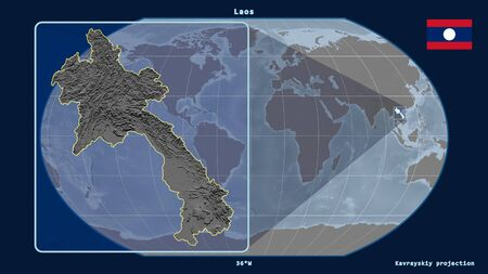Zoomed-in view of Laos outline with perspective lines against a global map in the Kavrayskiy projection. Shape on the left side. grayscale elevation map