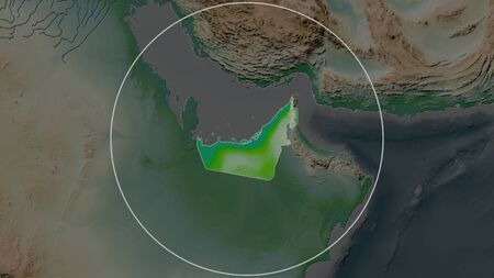 Enlarged area of United Arab Emirates surrounded by a circle on the background of its neighborhood. Color physical map