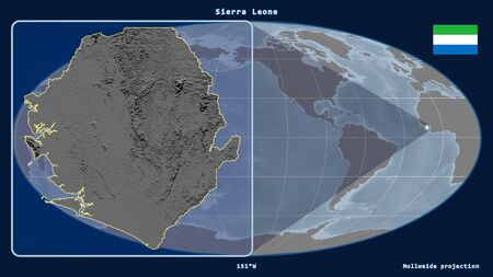 Zoomed-in view of Sierra Leone outline with perspective lines against a global map in the Mollweide projection. Shape on the left side. grayscale elevation map Фото со стока