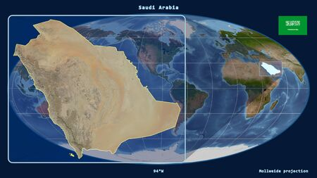 Zoomed-in view of Saudi Arabia outline with perspective lines against a global map in the Mollweide projection. Shape on the left side. satellite imagery Фото со стока
