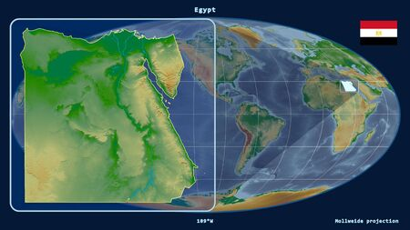 Zoomed-in view of Egypt outline with perspective lines against a global map in the Mollweide projection. Shape on the left side. color physical map Фото со стока