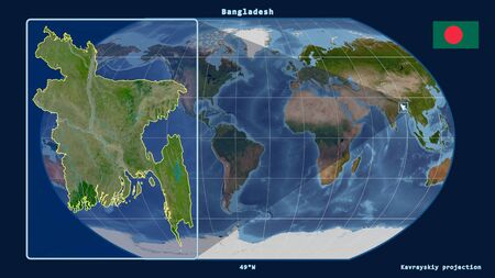Zoomed-in view of Bangladesh outline with perspective lines against a global map in the Kavrayskiy projection. Shape on the left side. Satellite imagery