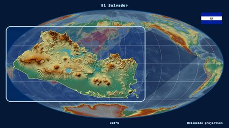 Zoomed-in view of El Salvador outline with perspective lines against a global map in the Mollweide projection. Shape on the left side. topographic relief map Фото со стока